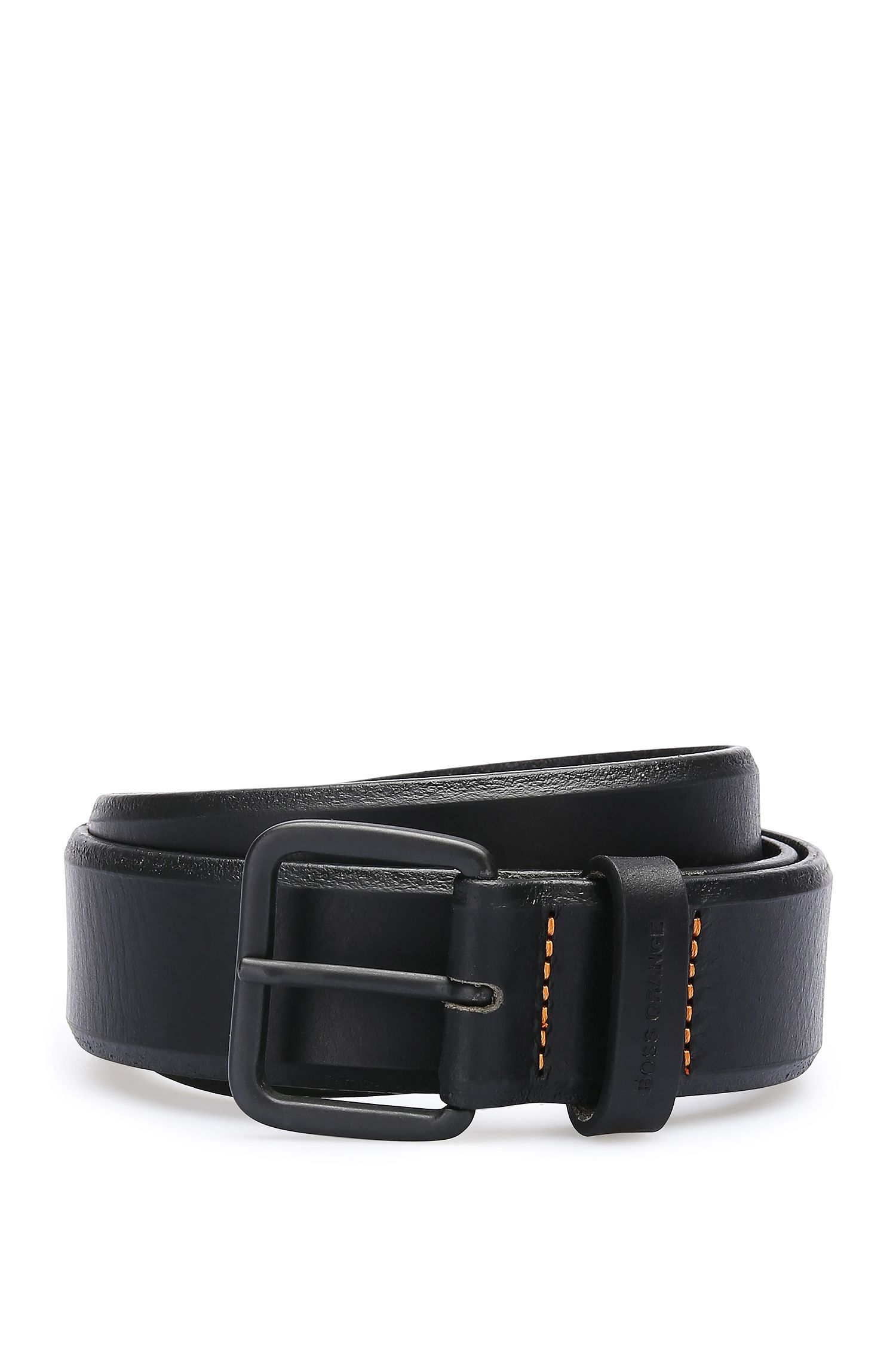 Grained leather belt: 'JoergSz35ltpl'
