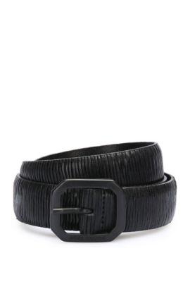 Handgefertigter Gürtel aus Leder mit Prägung: ´Julio_Sz30_ltem`, Schwarz