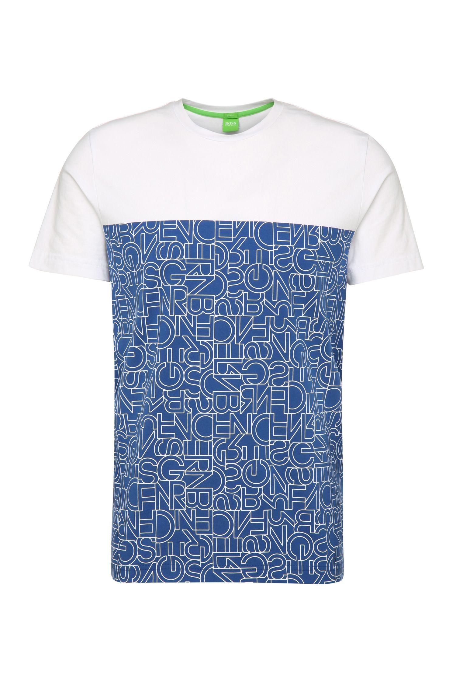 Slim-fit print t-shirt in stretch cotton: 'Tarsos'