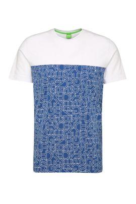 T-shirt imprimé Slim Fit en coton extensible: «Tarsos», Bleu vif