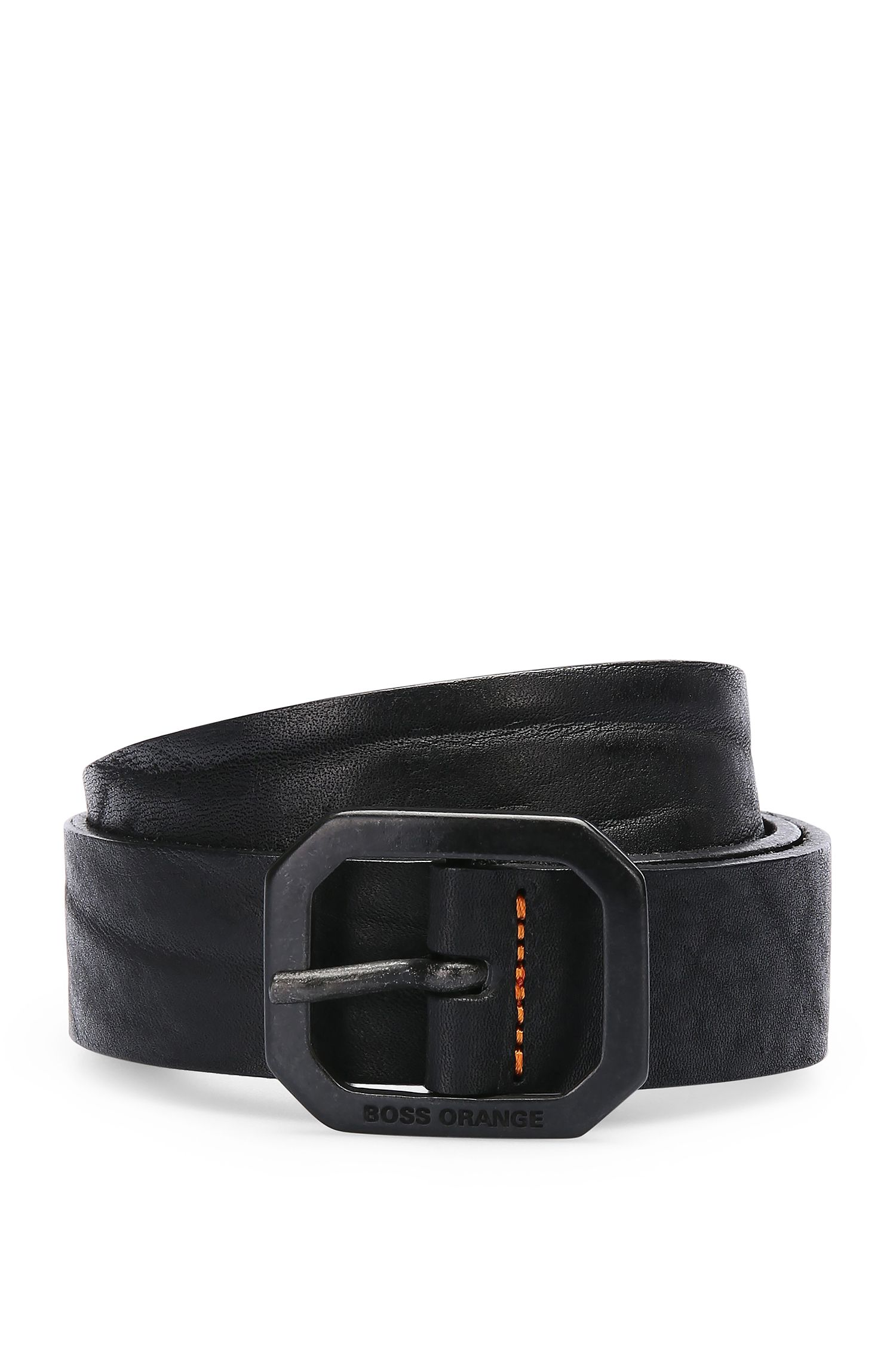 Leather belt with octagonal pin buckle: 'Jarim_Sz30_ltpl'