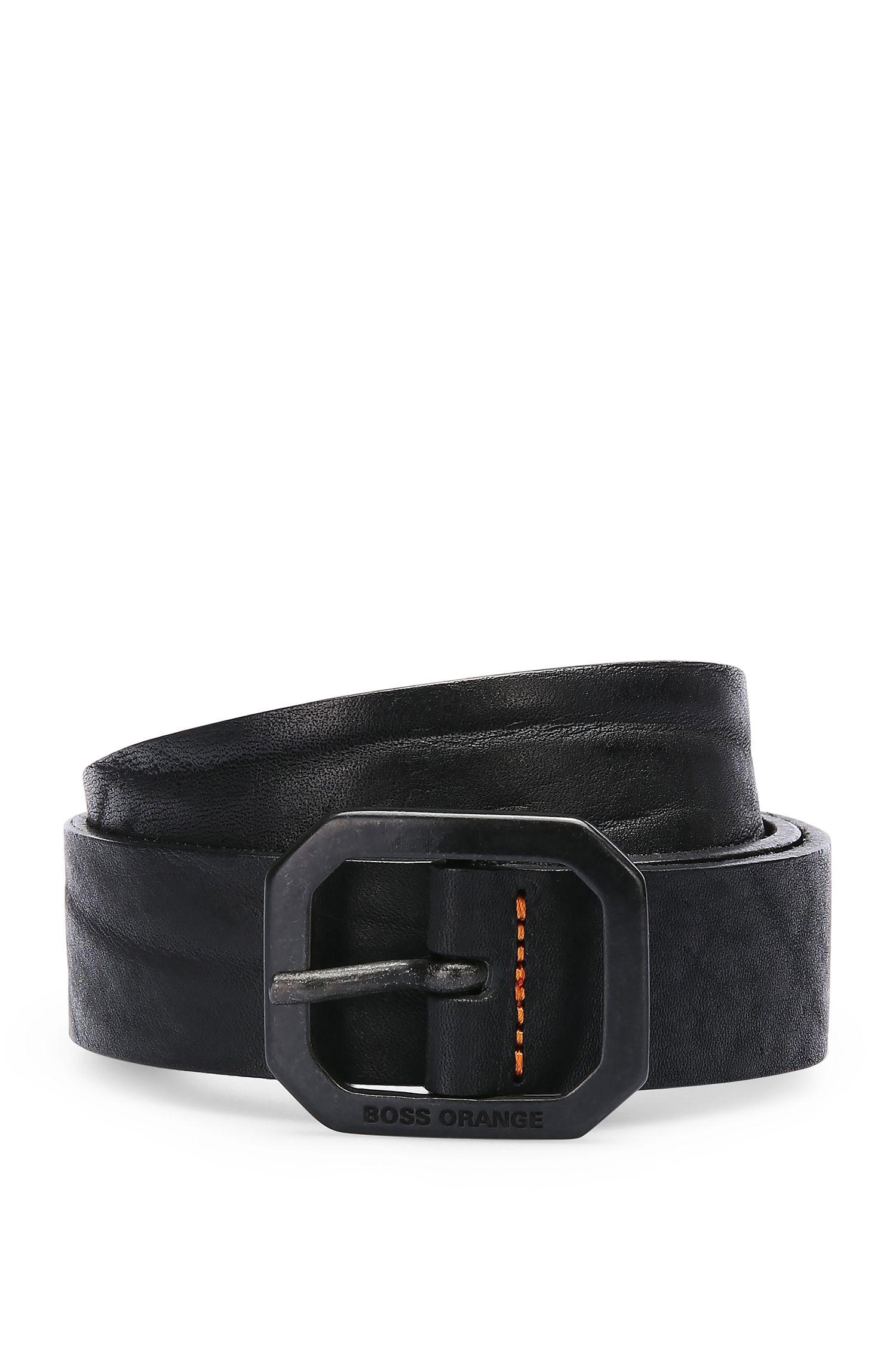 Cinturón de piel con hebilla octogonal: 'Jarim_Sz30_ltpl'