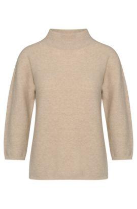 Jersey en mezcla de lana virgen con cachemira y cuello mao: 'Framke', Beige claro