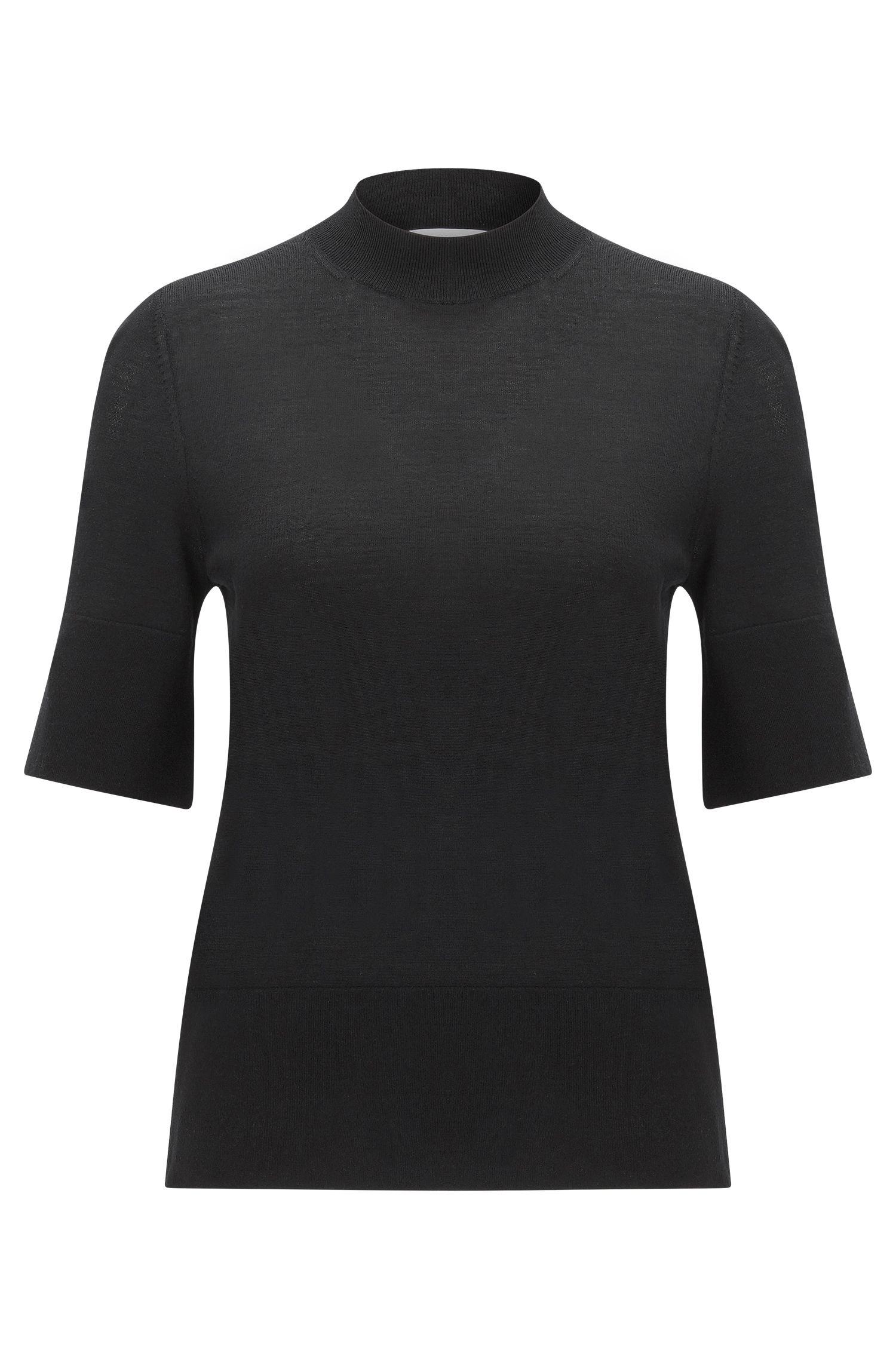 Oversize-Fit Halbarm-Pullover aus Schurwolle: 'Fadey'