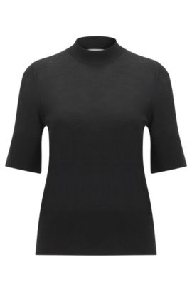Oversize-Fit Halbarm-Pullover aus Schurwolle: 'Fadey', Schwarz