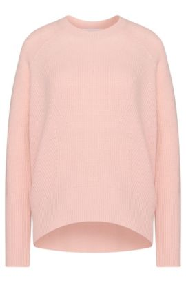 Ribbed sweater in new-wool blend with cashmere: 'Farisha', light pink