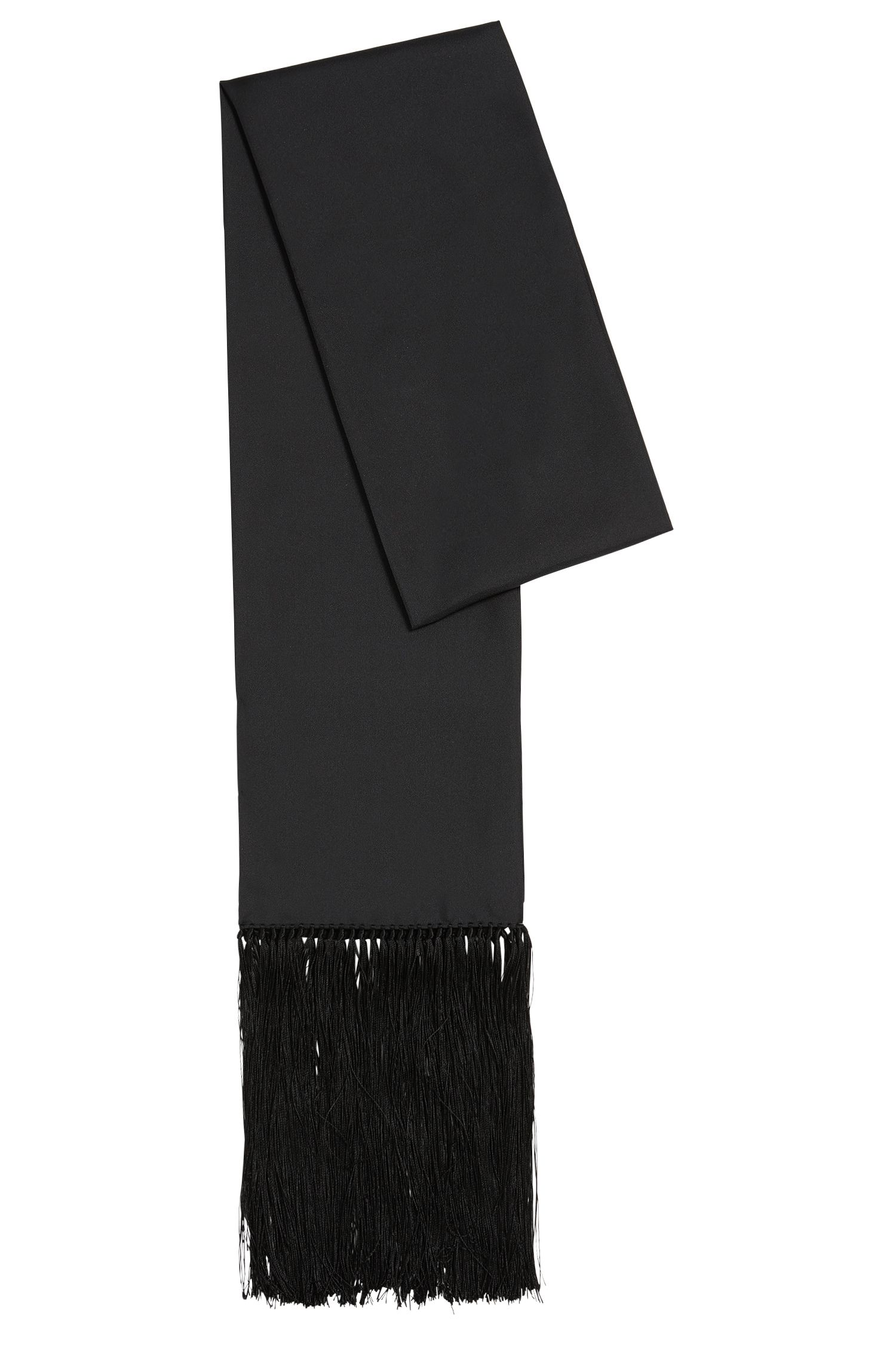 Plain-coloured silk scarf with fine fringes: 'Lolana'