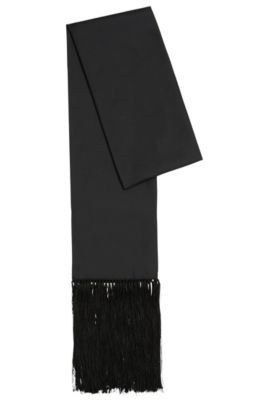 Plain-coloured silk scarf with fine fringes: 'Lolana', Black