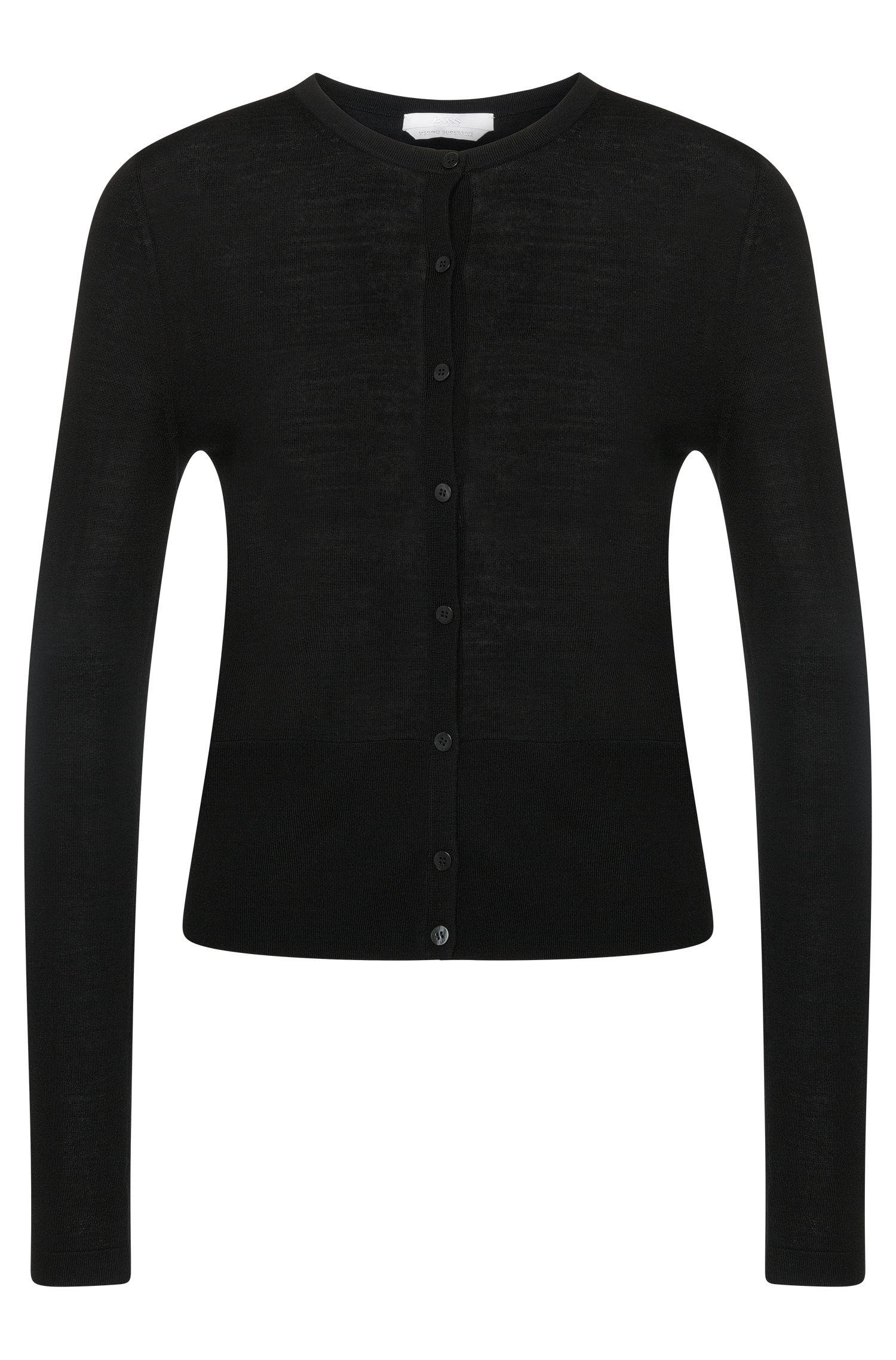Giacca in maglia in tinta unita in pura lana vergine: 'Fabia'