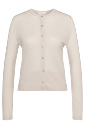 Solid-coloured cardigan in pure new wool: 'Fabia', Light Beige