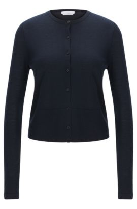 Solid-coloured cardigan in pure new wool: 'Fabia', Open Blue