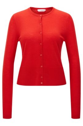 Solid-coloured cardigan in pure new wool: 'Fabia', Red