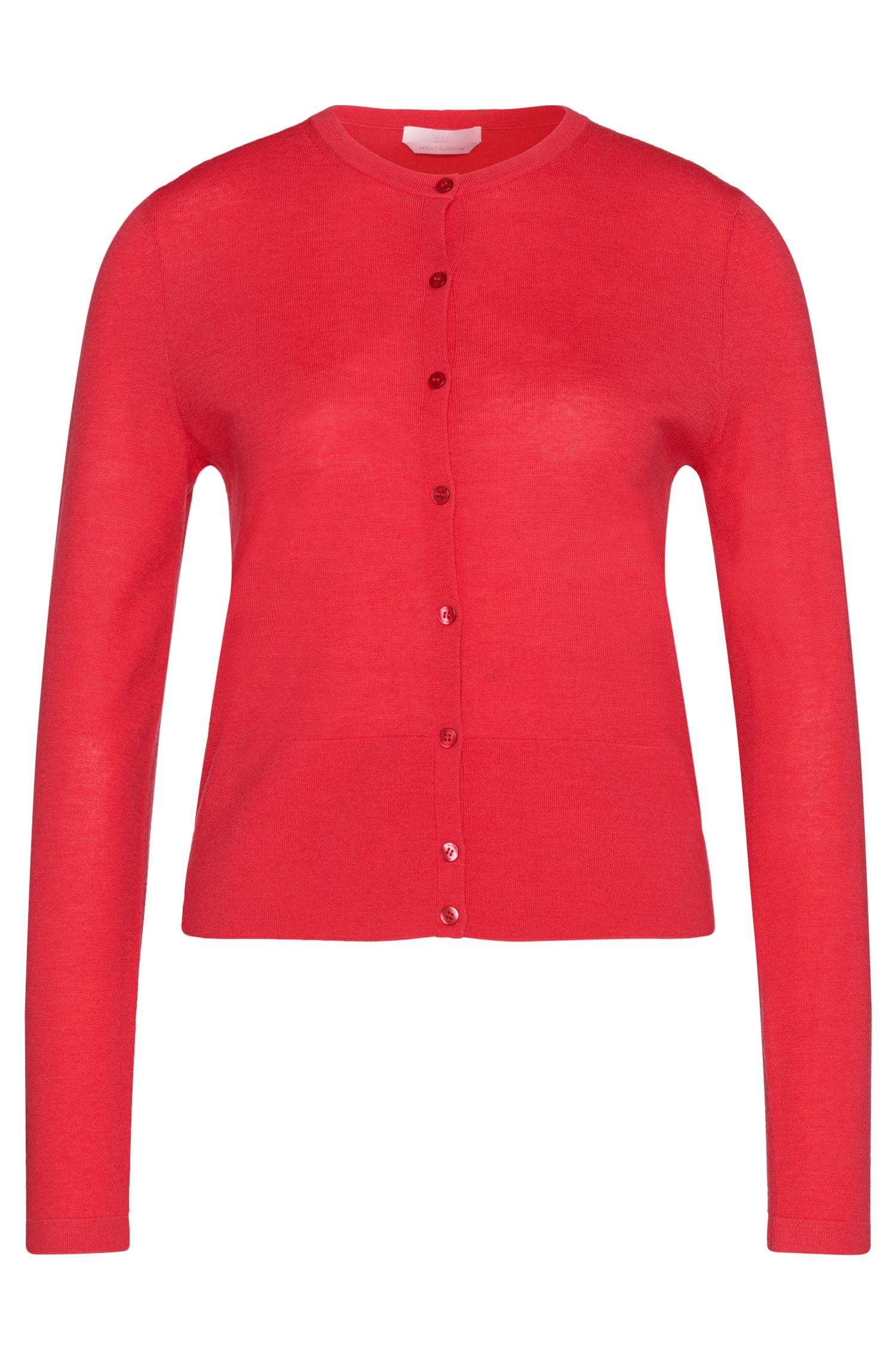 Unifarbene Strickjacke aus reiner Schurwolle: 'Fabia'