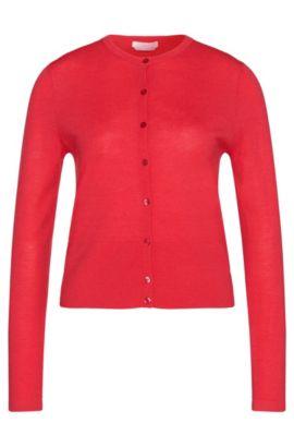 Unifarbene Strickjacke aus reiner Schurwolle: 'Fabia', Dunkelrosa