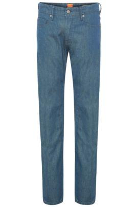 Tapered-fit jeans van elastische katoen: 'Orange90', Blauw