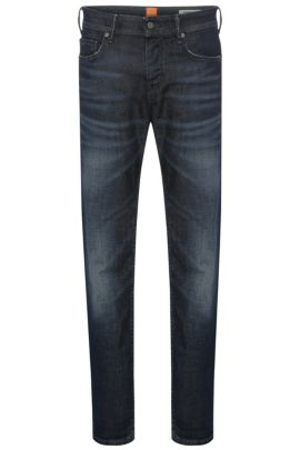 Tapered-fit jeans in stretchy cotton: 'Orange90', Dark Blue