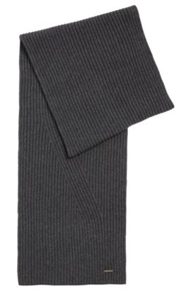 Plain scarf in a wool and cotton blend: 'Icardo', Grey