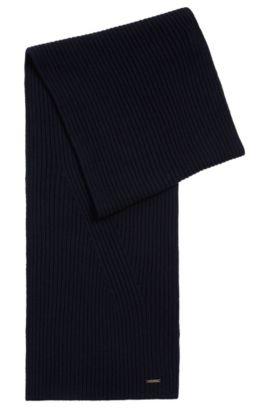 Chal liso en mezcla de lana virgen y algodón: 'Icardo', Azul oscuro