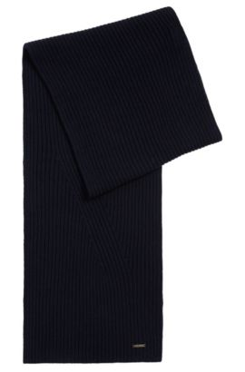 Plain scarf in a wool and cotton blend: 'Icardo', Dark Blue