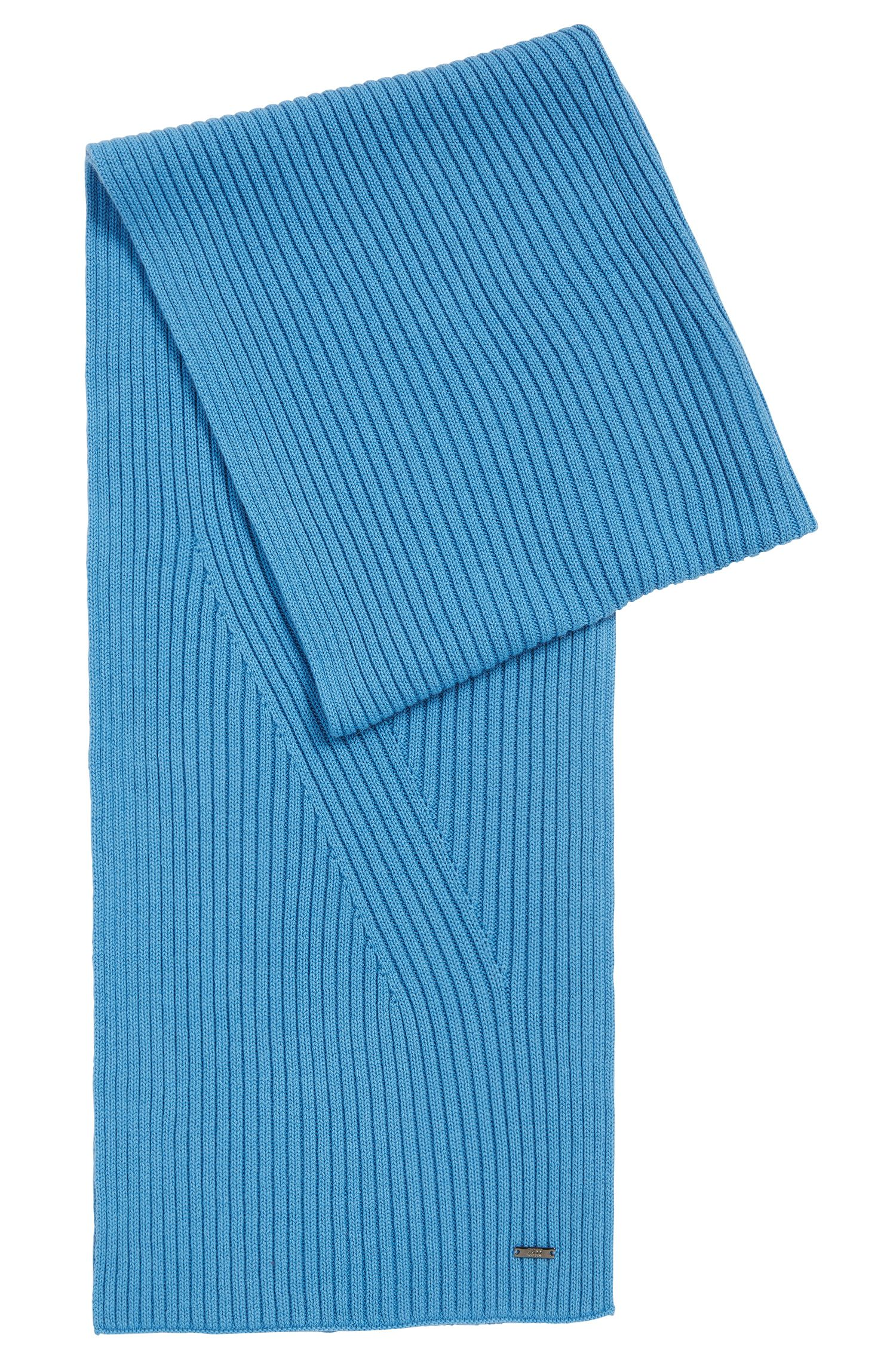 Plain scarf in a wool and cotton blend: 'Icardo'