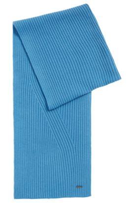 Sciarpa in tinta unita in misto lana vergine-cotone: 'Icardo', Celeste