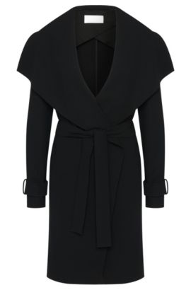 Plain coat with wide shawl collar: 'Claresa', Black