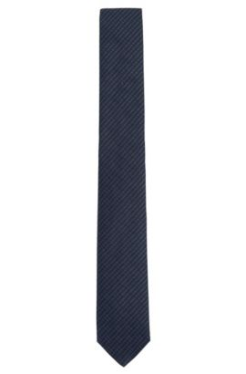 Finely patterned Tailored pure silk tie: 'T-Tie 6 cm', Dark Blue