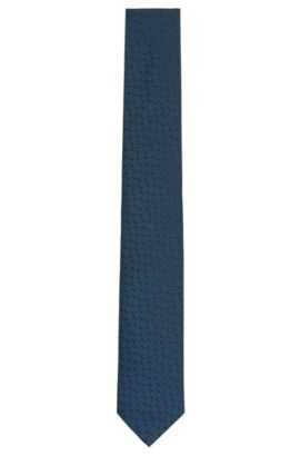 Corbata de la línea Tailored con fino estampado en pura seda: 'T-Tie 6cm', Turquesa