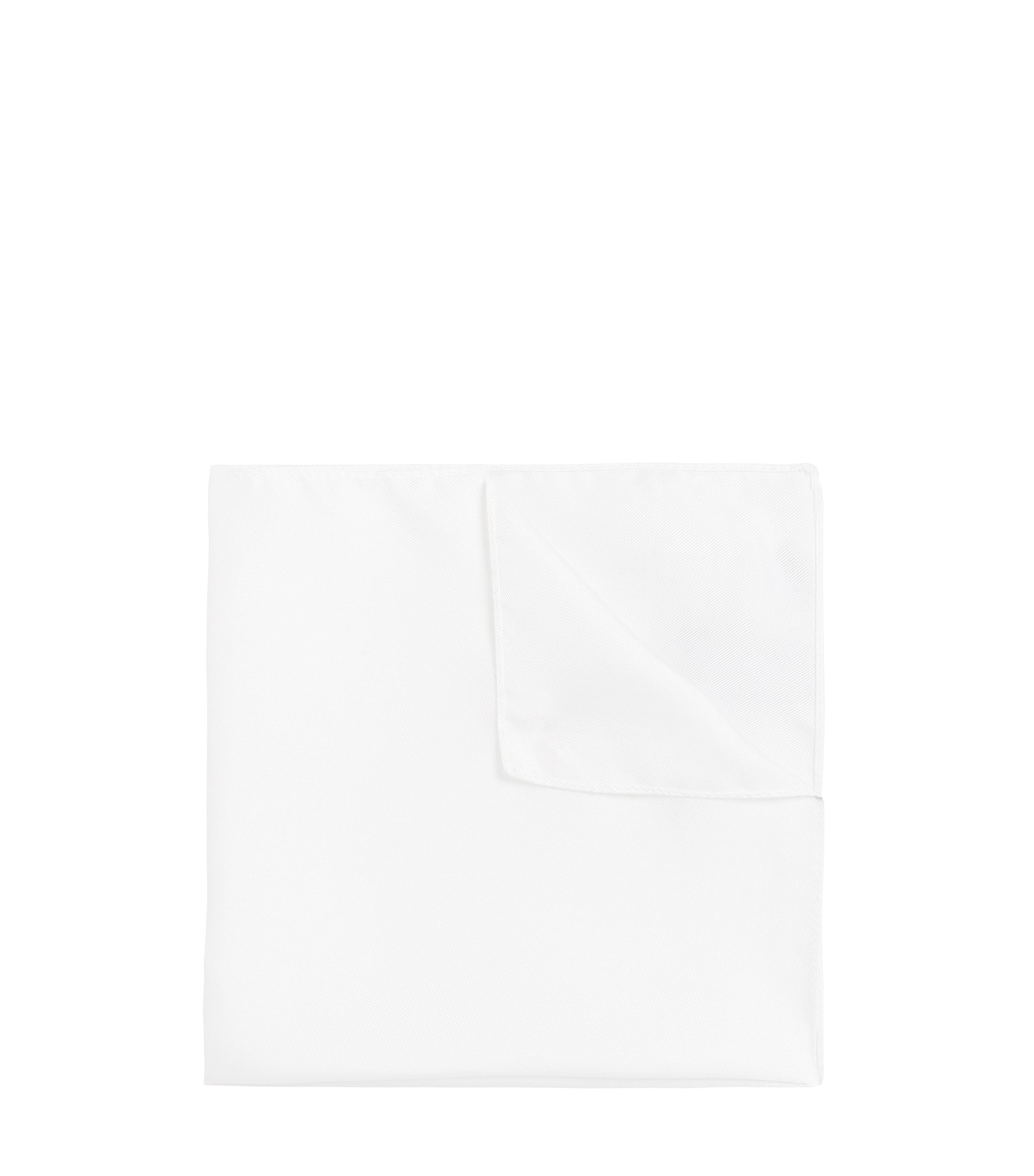 Plain pocket square in silk: 'Pocket sq. 33x33 cm', White