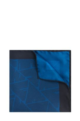 Gemustertes Tailored Einstecktuch aus reiner Seide: 'T-Pocket sq. cm 33x33', Türkis