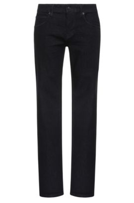 Slim-fit jeans in stretch-cotton blend: 'Orange63', Dark Blue