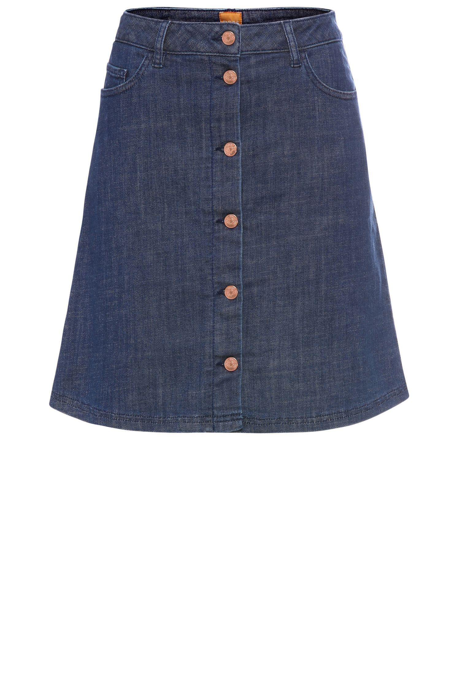 Gonna jeans regular fit in misto cotone elasticizzato con leggero trattamento di scoloritura: 'Orange J90 Duboi'