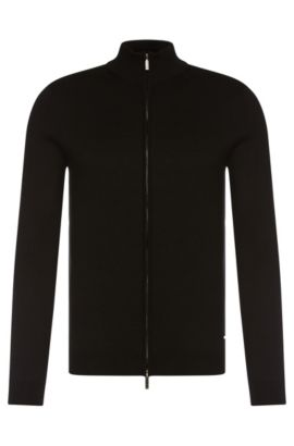 Slim-fit cardigan in cotton with 2-way zip: 'Ison', Black