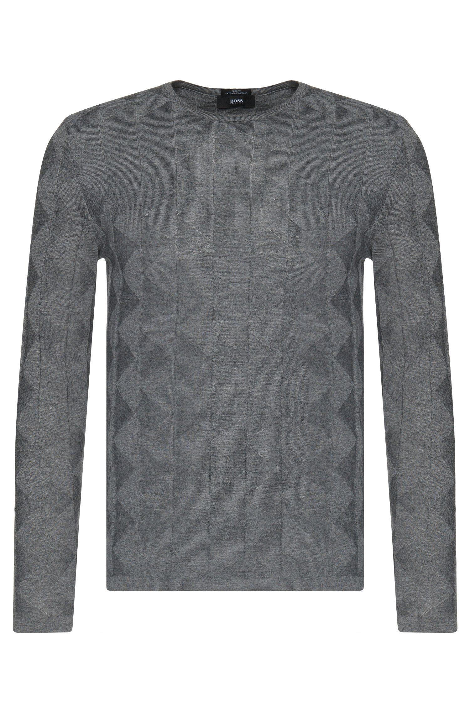 Pull Slim Fit en laine vierge au motif graphique structuré: «Ibaro»
