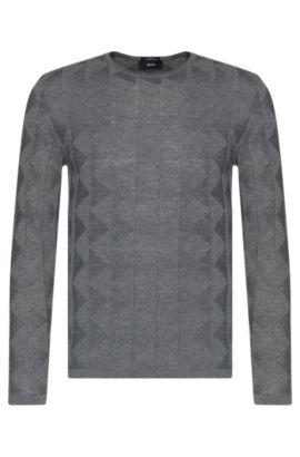Pull Slim Fit en laine vierge au motif graphique structuré: «Ibaro», Gris