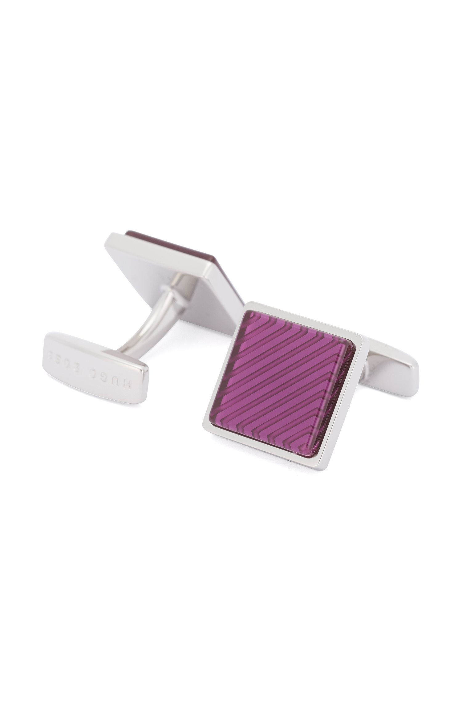 Square cufflinks with contrasting insert: 'Emilio'