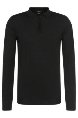 Slim-Fit Pullover aus Schurwolle mit Polo-Kragen: 'Iden', Schwarz
