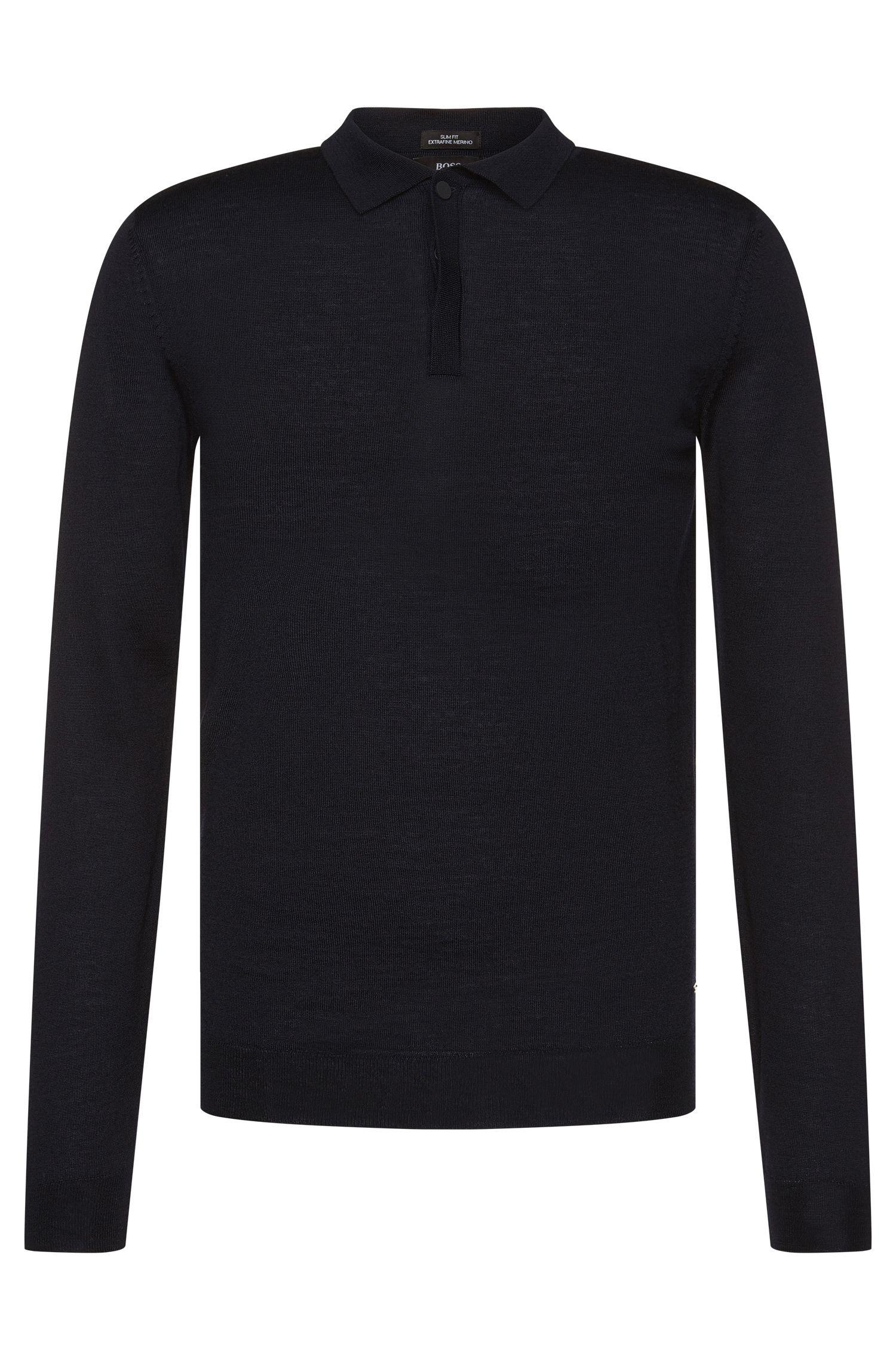 Maglione slim fit in lana vergine con colletto polo: 'Iden'
