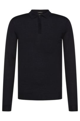 Slim-fit sweater in new wool with polo collar: 'Iden', Dark Blue