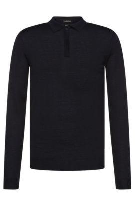 Maglione slim fit in lana vergine con colletto polo: 'Iden', Blu scuro