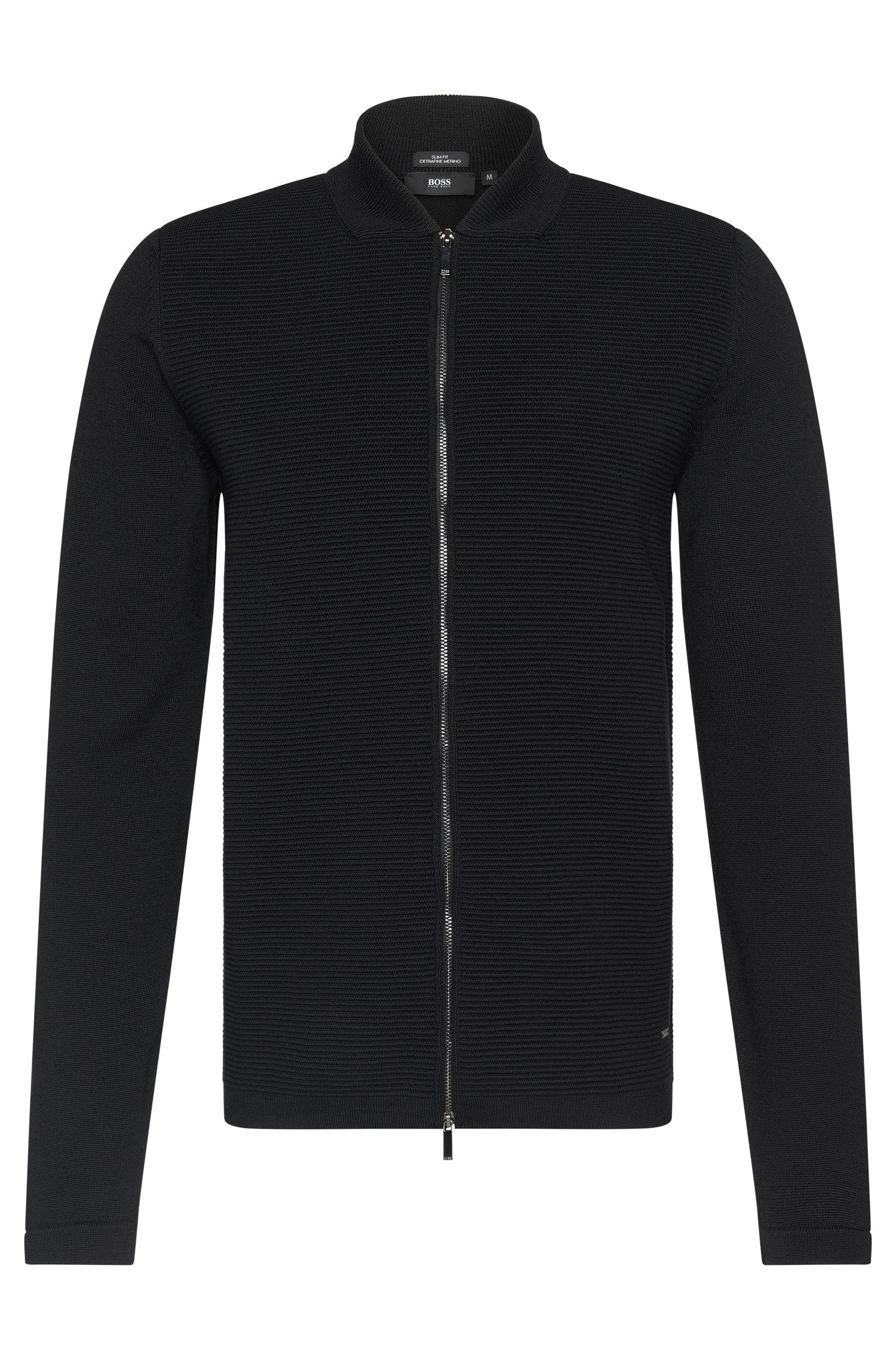Slim-fit cardigan in new wool with a short band collar: 'Inat'