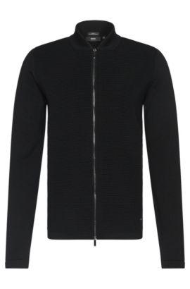 Cardigan in lana vergine slim fit con colletto alla coreana corto: 'Inat', Nero