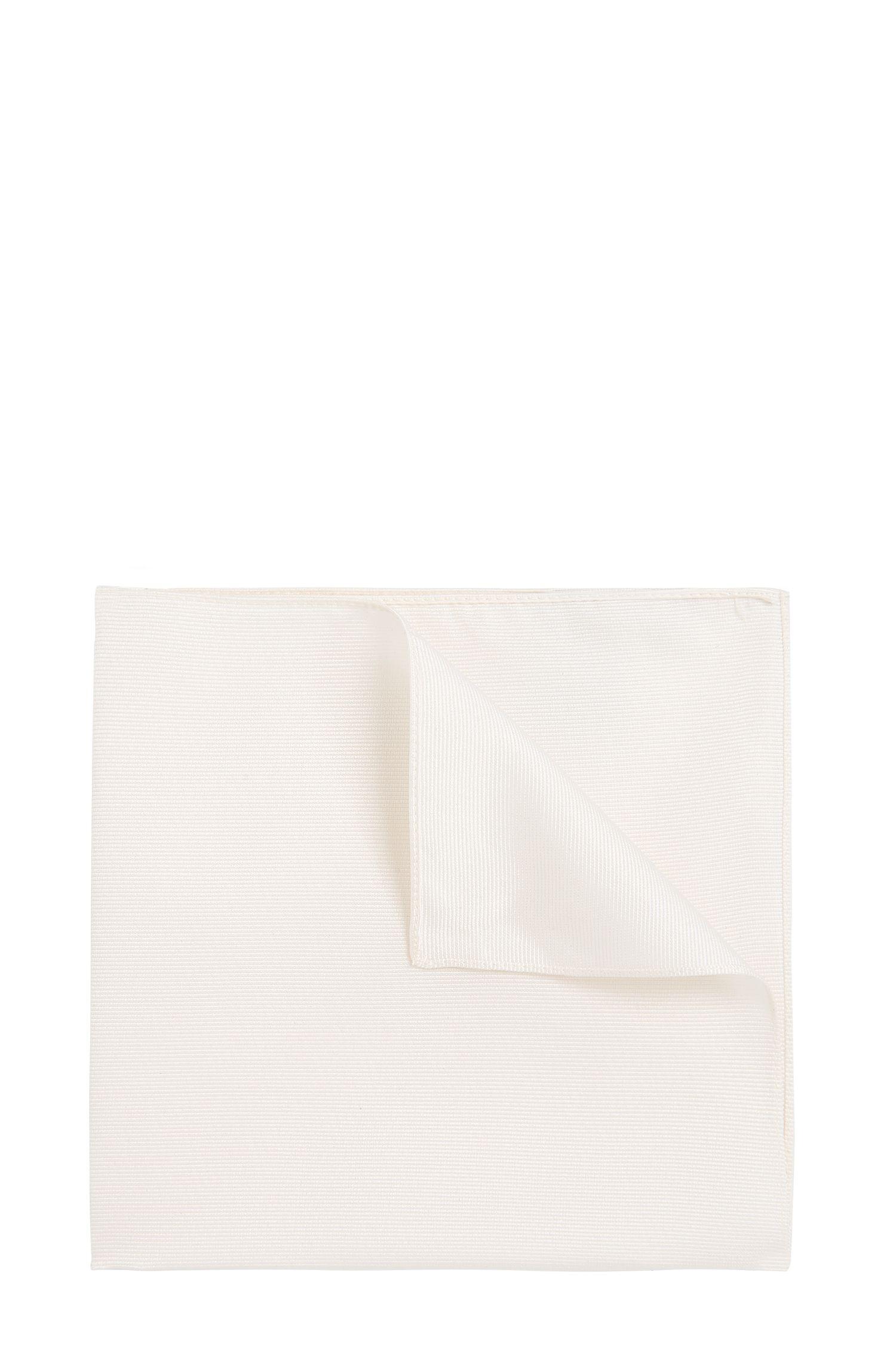 Effen pochet van zijde: 'Pocket sq. 33x33 cm', Naturel