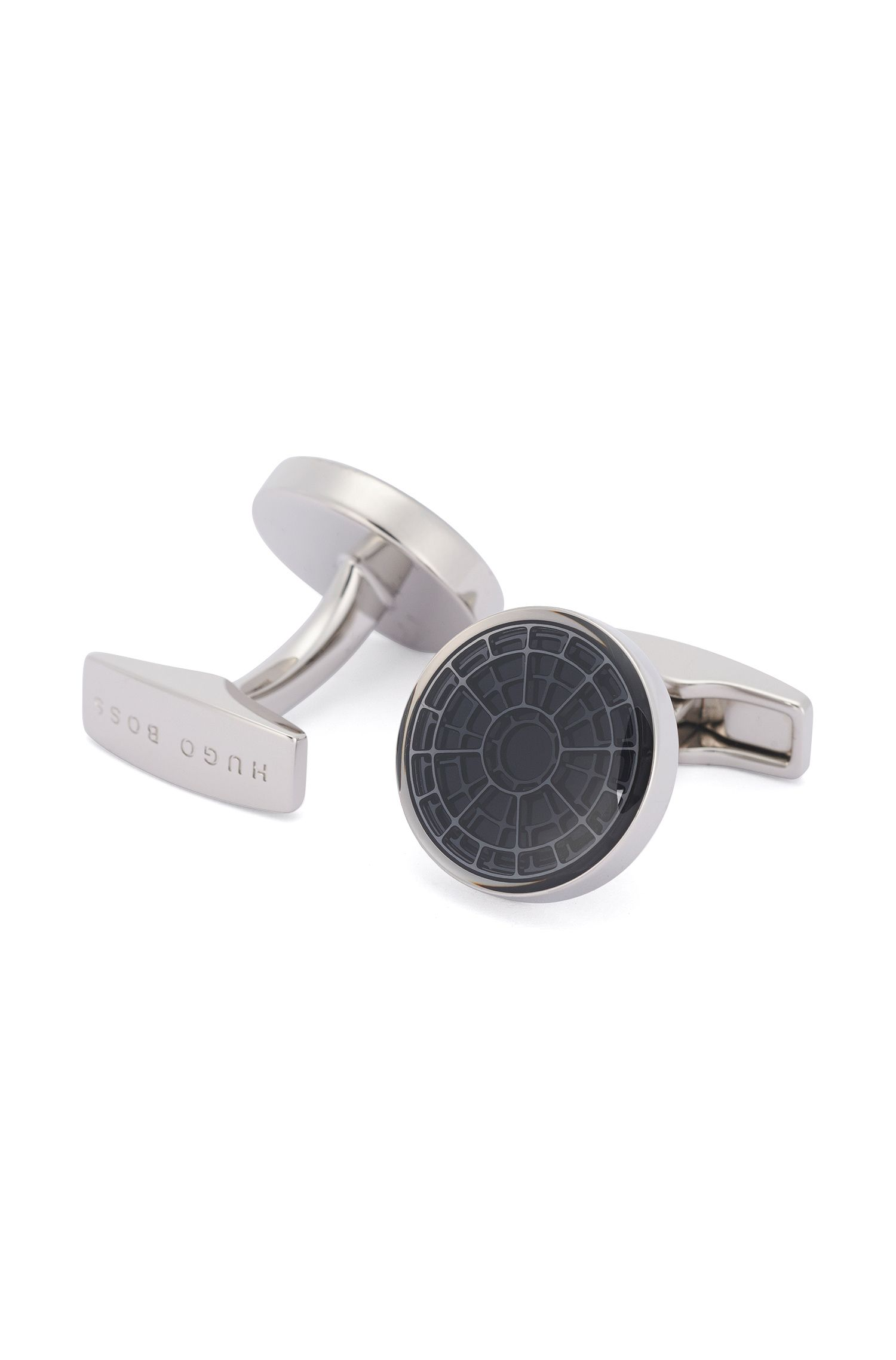 Round cufflinks with contrasting insert: 'Circle'