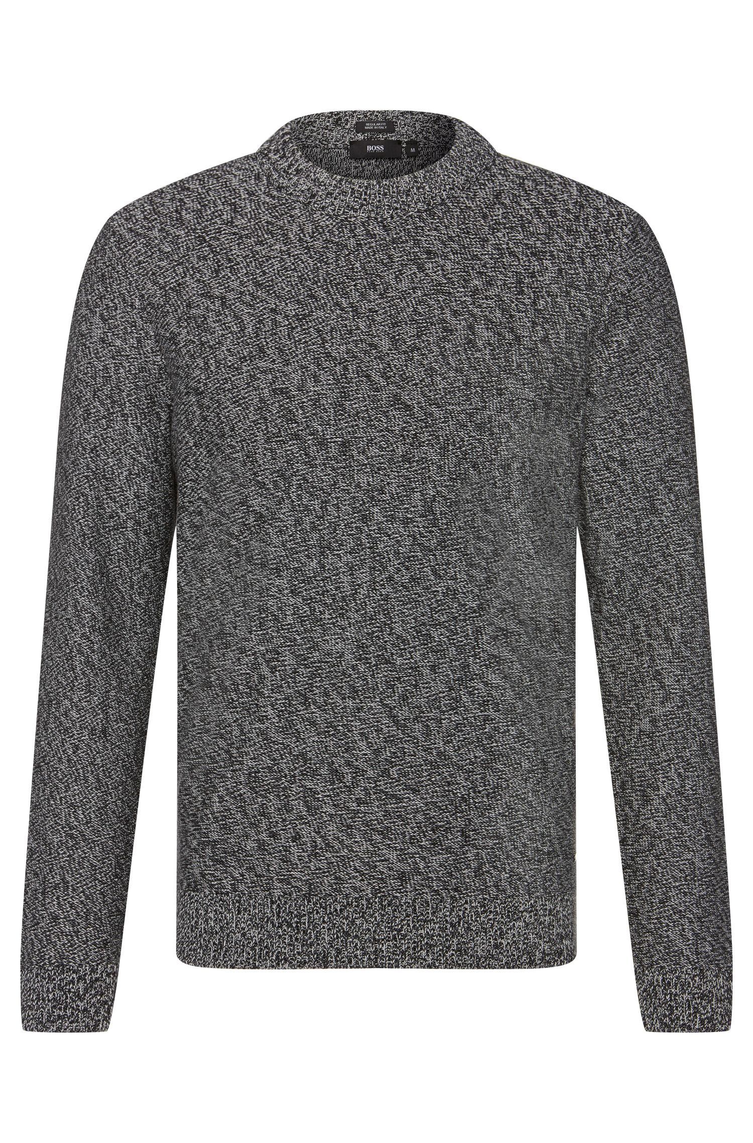 Mottled regular-fit sweater in cotton: 'Igus'