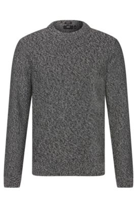 Mottled regular-fit sweater in cotton: 'Igus', Grey