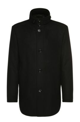 Regular-fit jacket in wool blend: 'C-Coxtan 5', Black