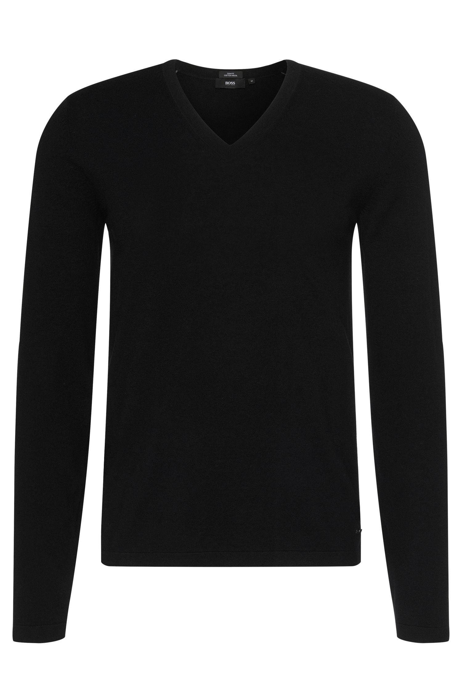 Slim-fit trui van een mix van katoen en scheerwol: 'Irias'