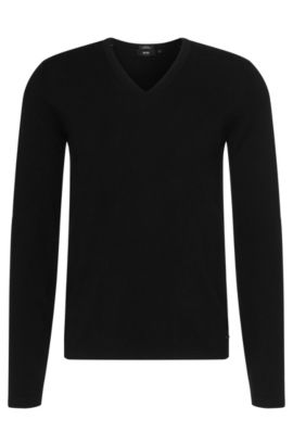 Slim-fit sweater in a new wool and cotton blend: 'Irias', Black