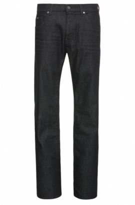 Regular-Fit Jeans aus strukturierter Stretch-Baumwolle: ´C-MAINE1`, Dunkelblau